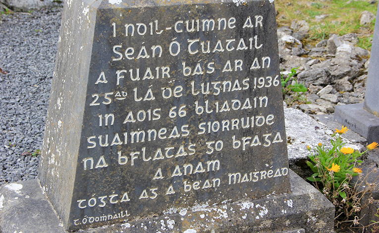 Gaelic language engraved on a stone
