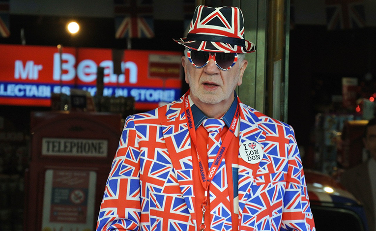 Old man in head to toe union jack clothing
