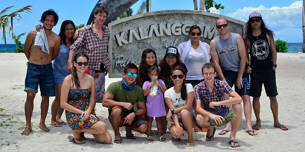Foreign and local friends in an island