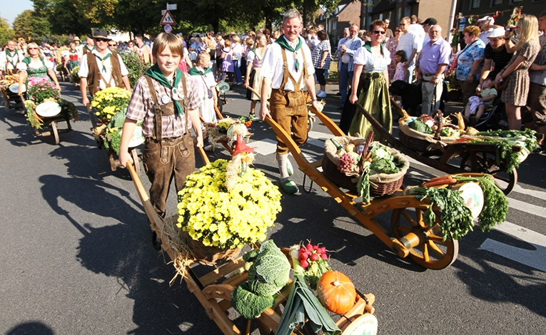 young boy pushing cart full of harvest for Erntedankfest