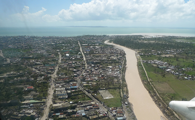 Aerial view of hurricane devastation in Les Cayes, Haiti