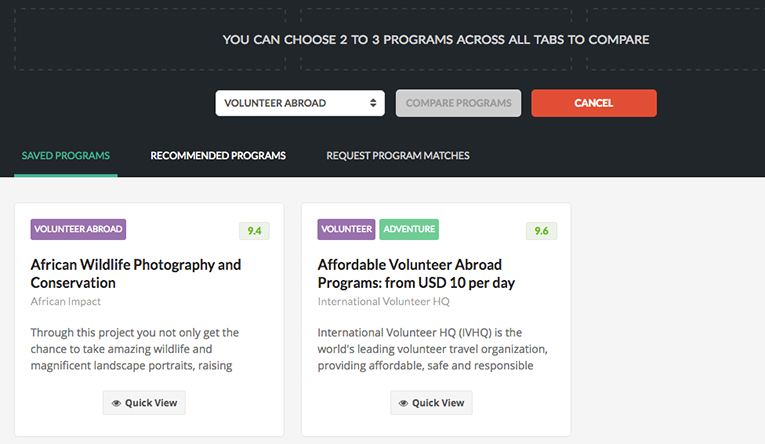 Snapshot of comparing programs option in MyGoAbroad
