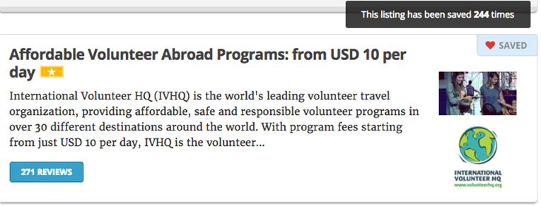 Snapshot of saving a program with MyGoAbroad