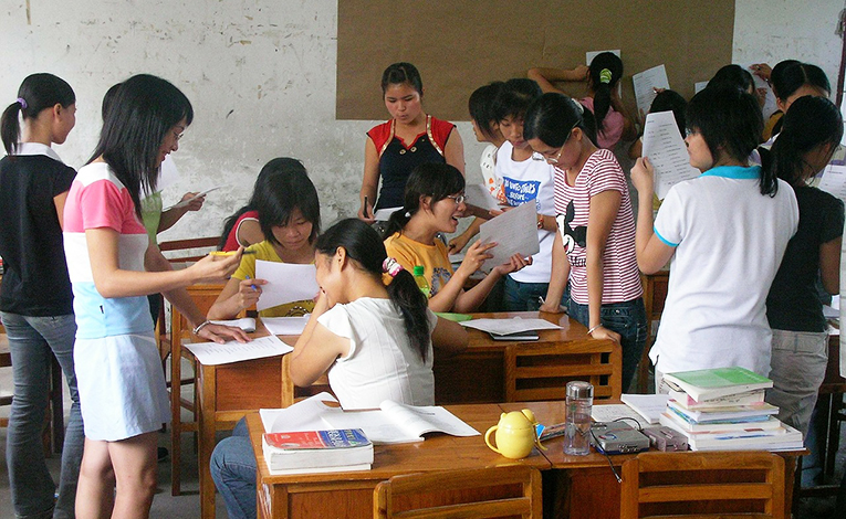 Students doing a group activity in a classroom