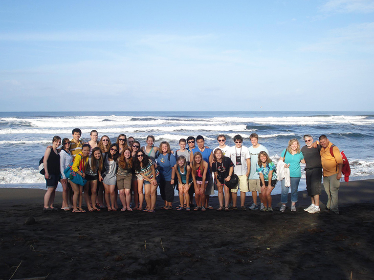 Students on a beach in Costa Rica