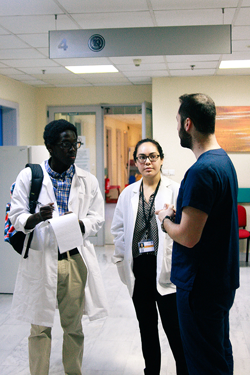 Students shadowing doctors in Greece