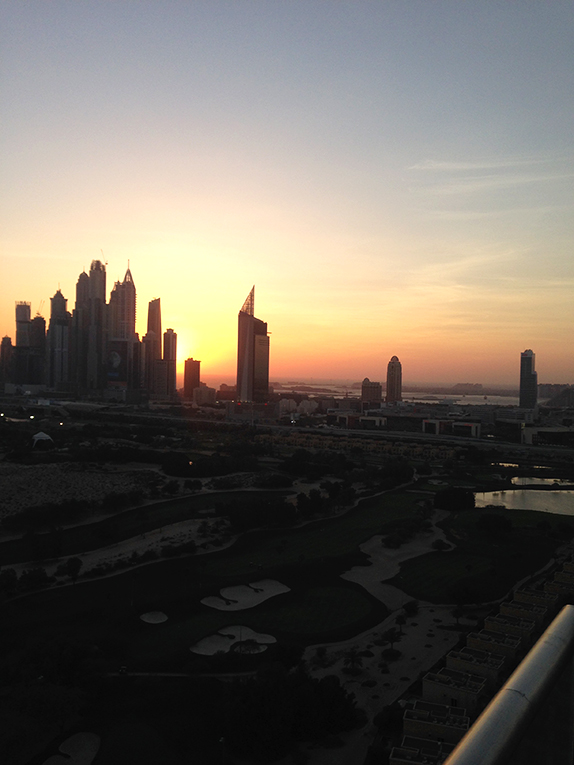 Sunset in Dubai from the penthouse balcony of the fairway apartments in The Greens, UAE