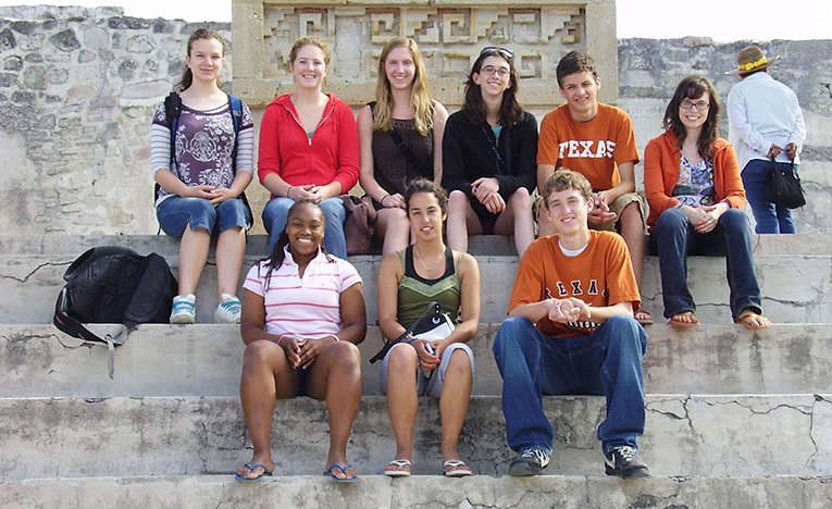 Students at Monte Albán ruins in Mexico