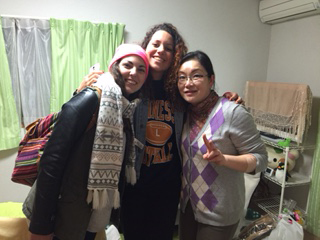 Italian students with host sister in Tokyo, Japan