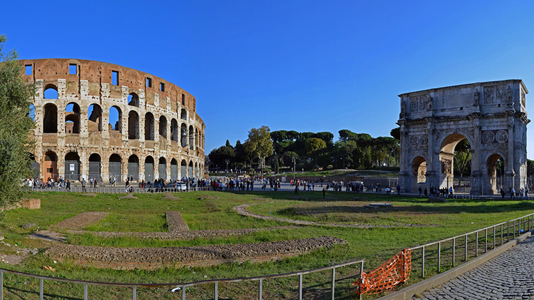Colosseum And Arch Of Constantine, Rome