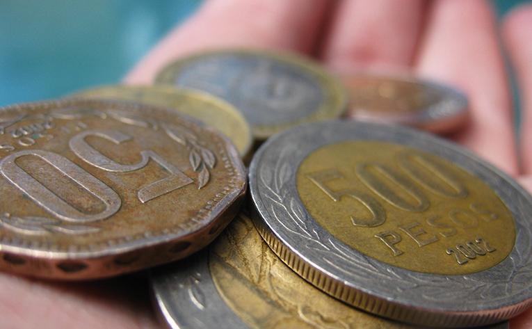 Pile of pesos coins