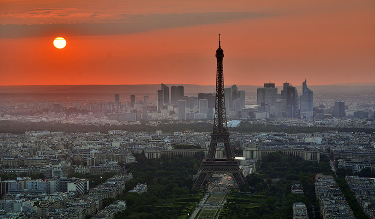 Sunset view in Paris, France