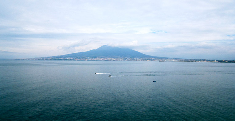 The Bay of Naples and Mt. Vesuvius in Southern Italy