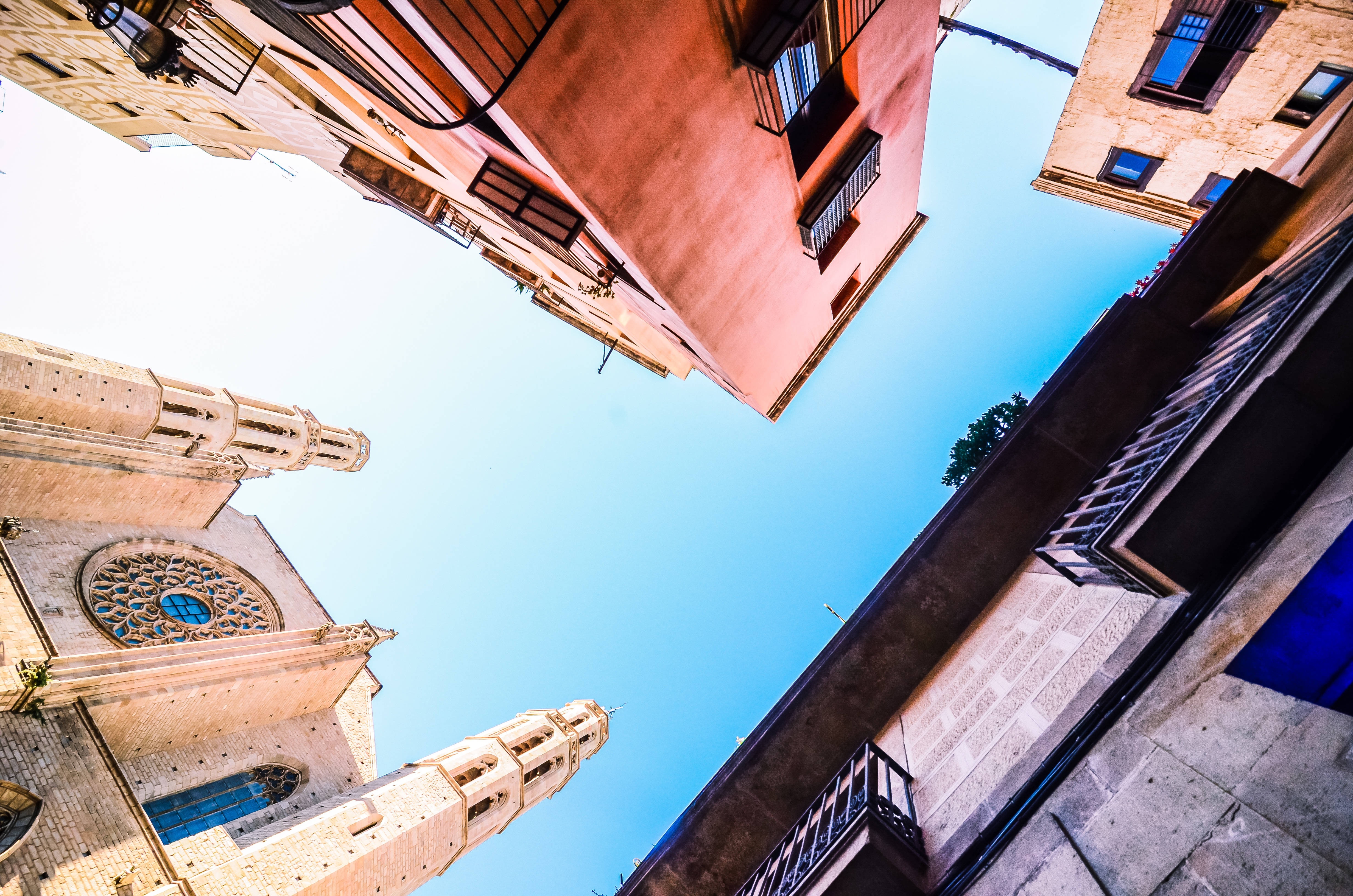 Looking up from a Spanish piazza