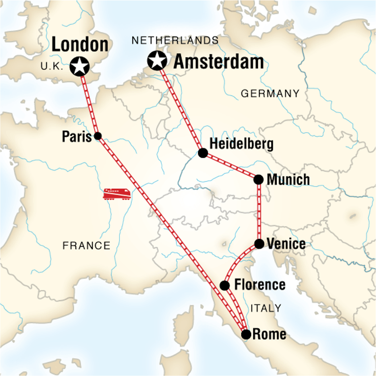 Map of a route from London to Amsterdam