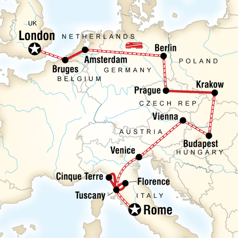 Map of a route from Rome to London