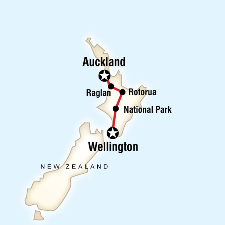 Map of a route from Auckland to Wellington