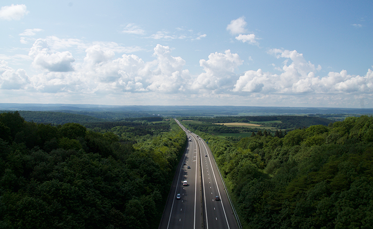 Highway heading towards the countryside in Belgium