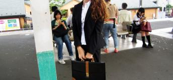 American dressed in business attire in Japan