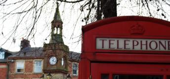 Red telephone booth and the big ben.