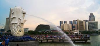 The Merlion set against Singapore's cityscape.