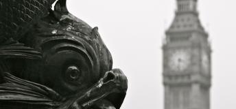 Unique view of Big Ben in London, England