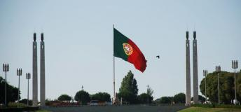 Portugal flag waving proudly in the wind