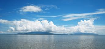 The island of Omotepe, rising from the Nicaragua Lake and formed by two volcanoes