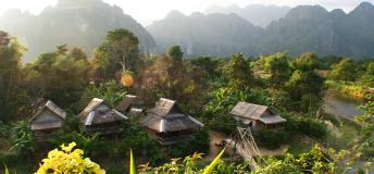 Nipa huts in Laos