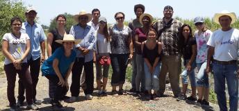 Students visiting corn fields in Ixtlilco el Grande, Mexico