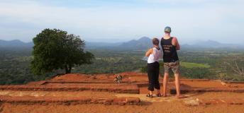 Couple overlooking a mountain scene