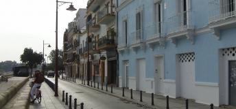 Calle Betis on the edge of the Guadalquivir River in Seville, Spain