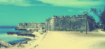 Colonial wall along the coast of Mozambique