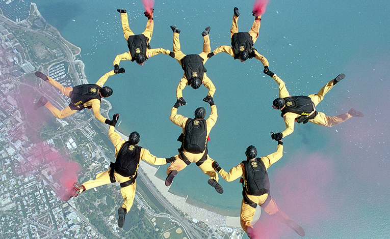 Skydiving team in formation