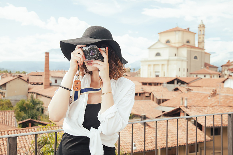 A woman taking photos