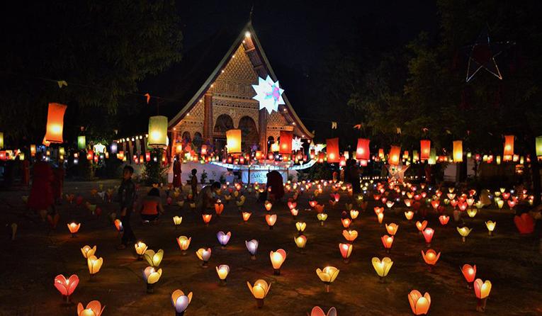 Festival of lights celebrating the end of Buddhist lent