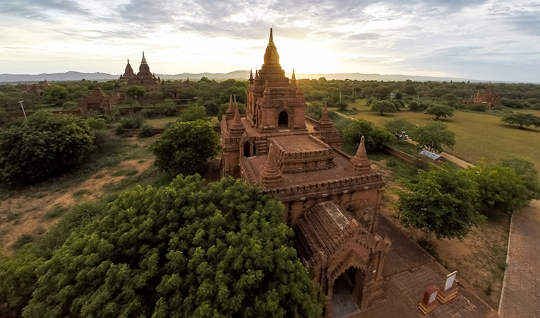 Sunset over the temples of Bagan in Myanmar