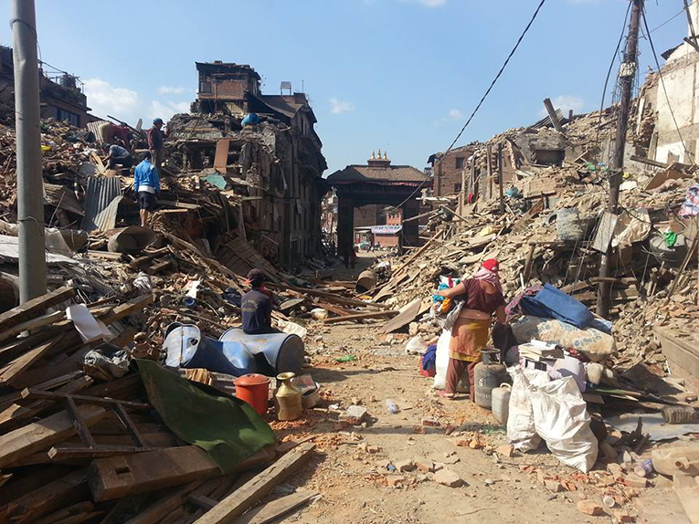 Collapsed buildings and debris in Nepal