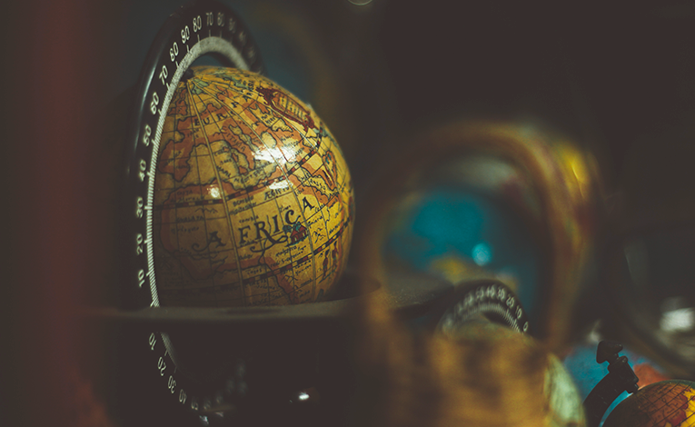 Close up of a vintage globe