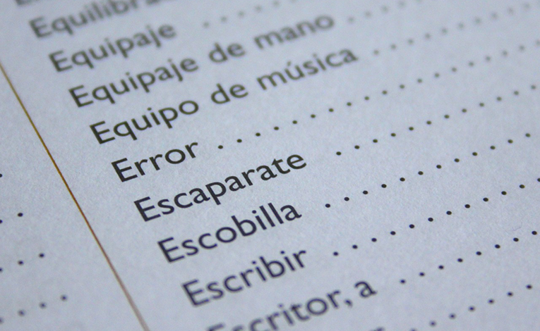 Close up of a Spanish textbook