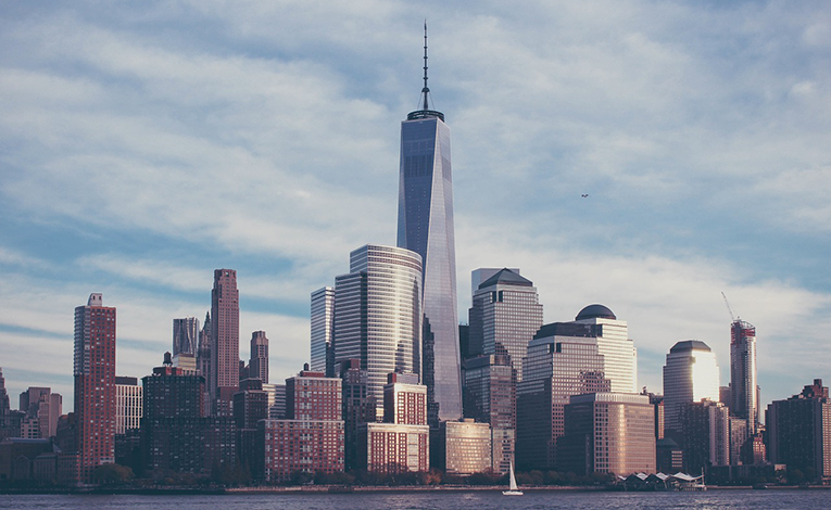 View of Freedom tower in New York City